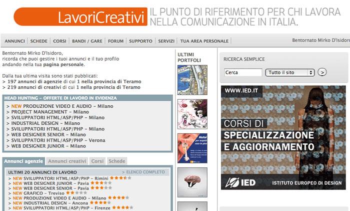 home page di LavoriCreativi.com