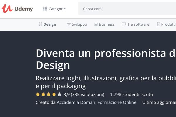 udemy diventare graphic designer